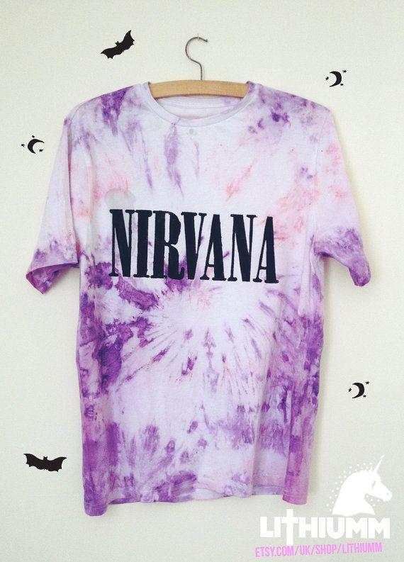 NIRVANA Tie Dye Tshirt hippie grunge kurt cobain by Lithiumm, £12.99