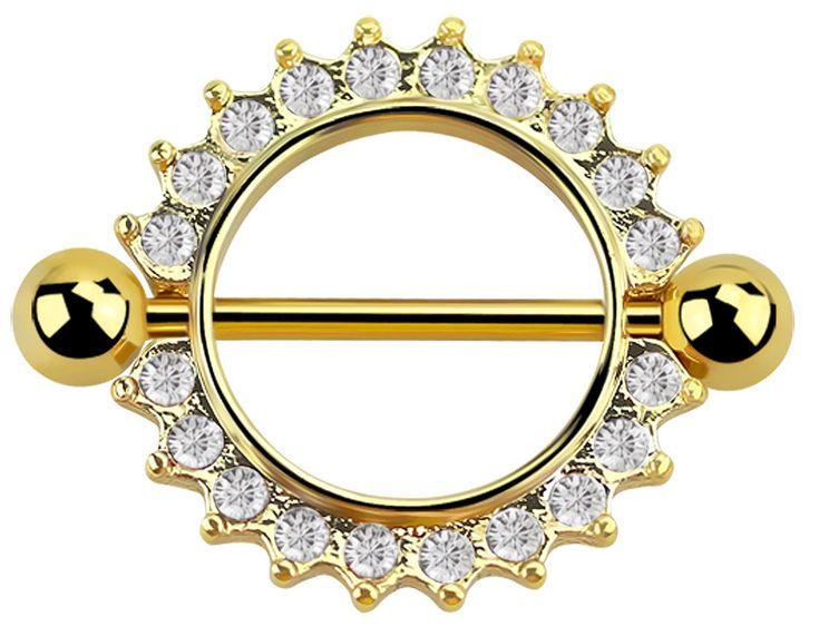 Bild von Brustpiercing Schild mit Steinkranz, Gold beschichtet