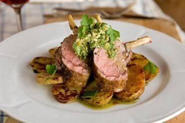 Spring lamb rack with green olive salsa verde