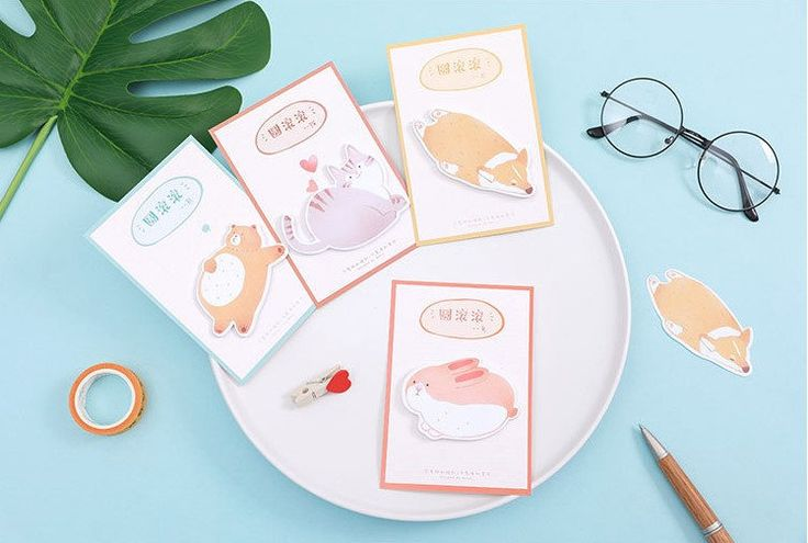 Kawaii Fat Animals Sticky Note, Notepads, Memo Pads, Reminder Notes, Memo Pad Stickers by GinkoSupplies on Etsy