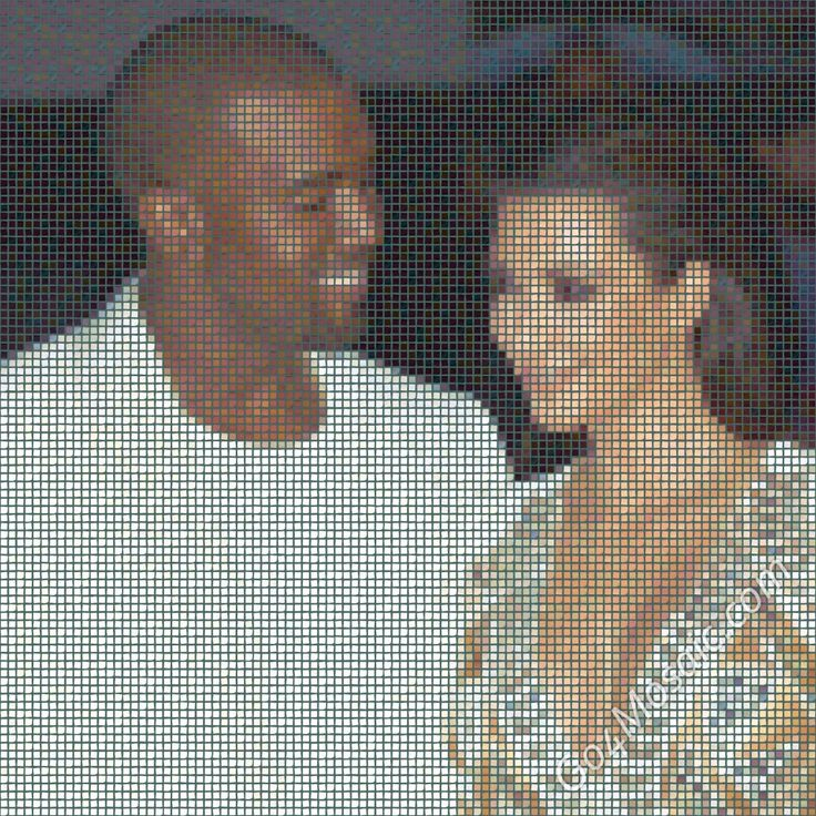 This wonderful mosaic of Kanye West and Kim Kardashian is made out of exactly 10000 Post-Its! - Go4mosaic Blog www.go4mosaic.com