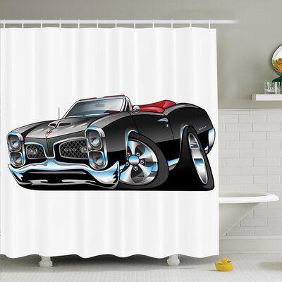 Latitude Run Myaa Nostalgic Sports Car Shower Curtain Set Size: 84″ H x 69″ W  – Products