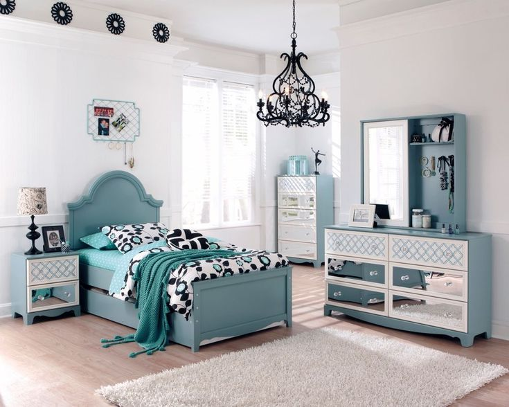Ashley mivara tiffany turquoise blue girls kids french for Ashley furniture room planner