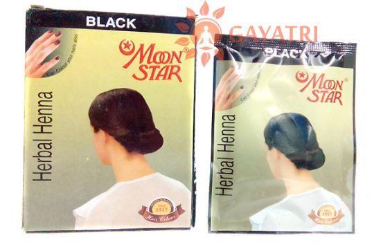 "Травяная черная краска для волос и бровей, хна ""Мун стар"",1 пачка.Производитель ""Изук импекс"" /Herbal Henna Hair powder black Moon Star/Izuk Impex/135/"