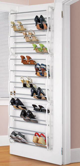 Over the door shoe rack organizer! #product_design #organization   I need one of these now. I have so many shoes.