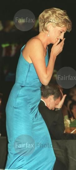 October 31, 1996: Diana, Princess of Wales at a Victor Chang Cardiac Research Institute fundraising dinner in Sydney, Australia.
