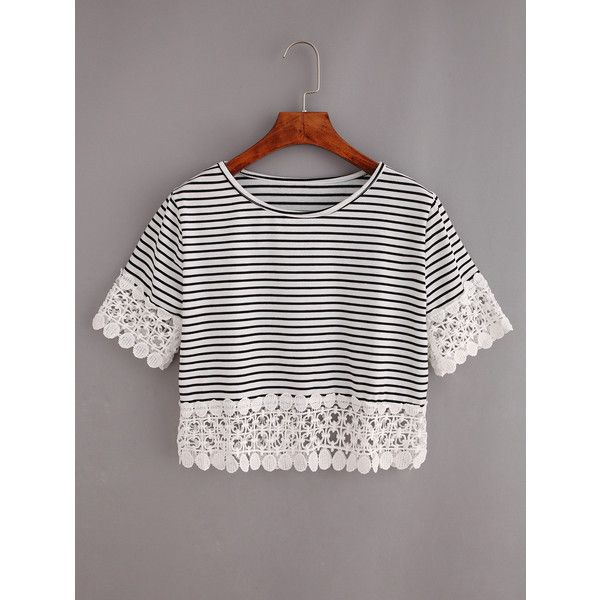 SheIn(sheinside) Lace Trimmed Black White Striped Crop T-shirt ($7.99) ❤ liked on Polyvore featuring tops, t-shirts, short sleeve crop top, polyester t shirts, striped t shirt, crop t shirt and striped crop top