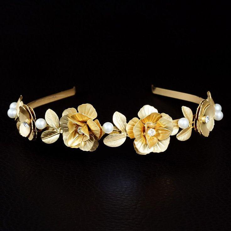 Yellow Gold Flower Bridal Wedding Headband Prom Hair