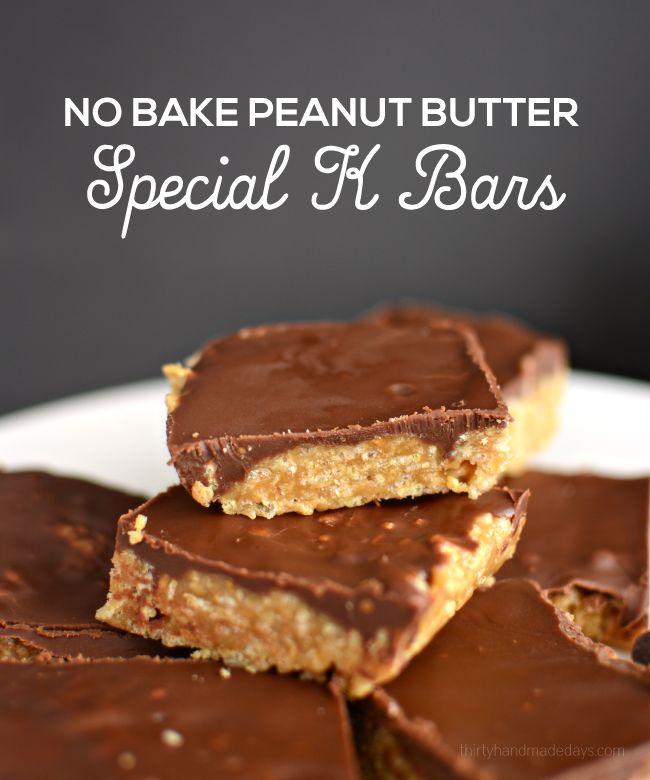 No Bake Peanut Butter Special K Bars- easy to make and taste amazing   thirtyhandmadedays.com