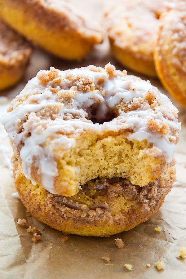 Coffee Cake Donuts with Vanilla Glaze - Baker by Nature