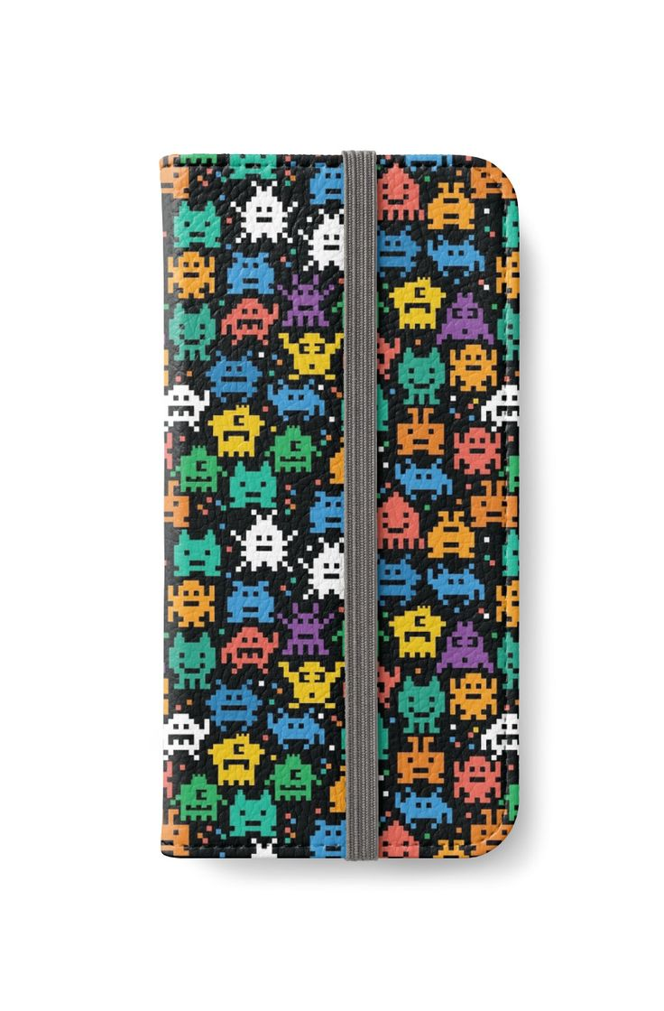 Pixelated Emoji Monster Pattern Illustration by Gordon White   Emoji Monster iPhone 6 Wallet Available @redbubble --------------------------- #redbubble #emoji #emoticon #smiley #faces #cute #addorable #pattern #iphone #case #skin #phonecase #phoneskin
