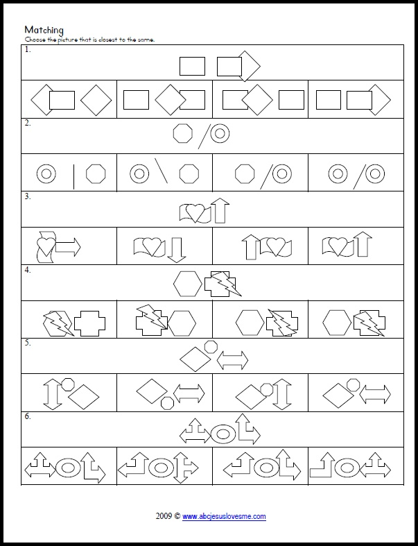 Visual Perception Worksheets