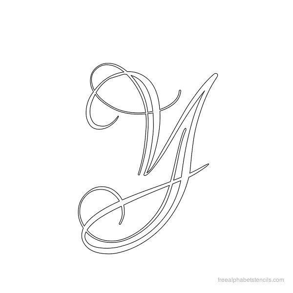 Calligraphy alphabet stencil y dies complet