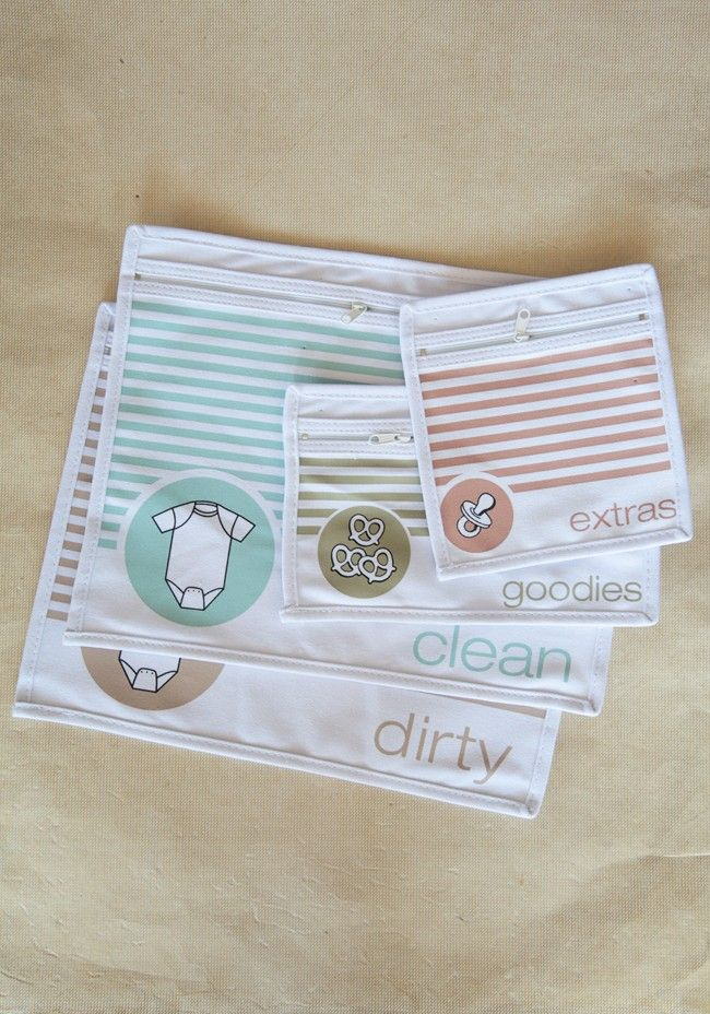 Diaper Bag Organizer Pouches | Modern Vintage Children. Could just keep using ziplock bags, but these are so cute!