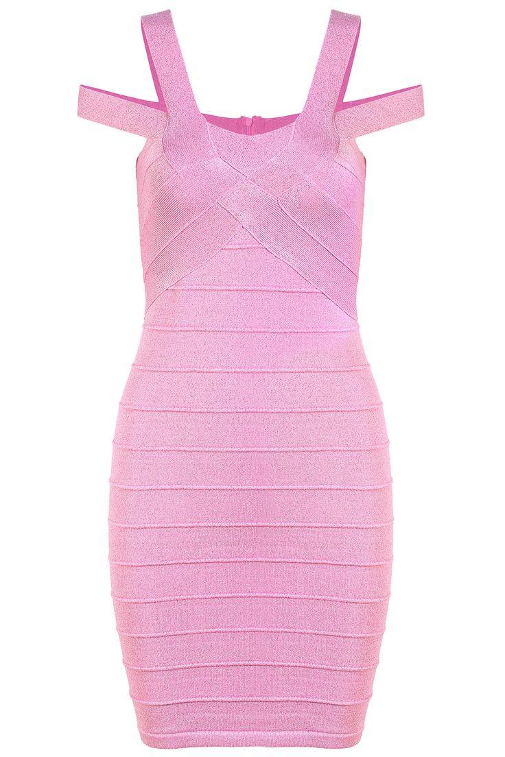 Pink Strap Off the Shoulder Bandage Dress 30.00