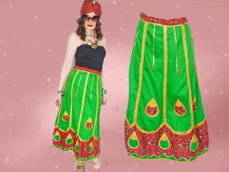 Gypsy Tribal Skirt Womens Medium Tea Length Festival Skirts, Colorful Vintage Gypsy Midi Skirt with Bells, Bohemian Cosplay Banjara Clothing by LunaJunctionVintage on Etsy