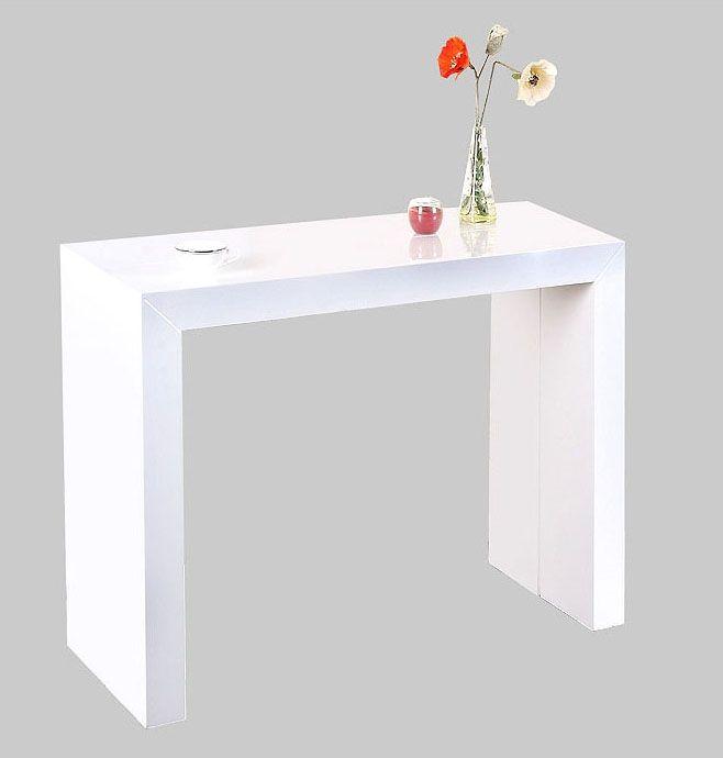 Table rabattable cuisine Paris: Table extensible laque blanc                                                                                                                                                                                 Plus