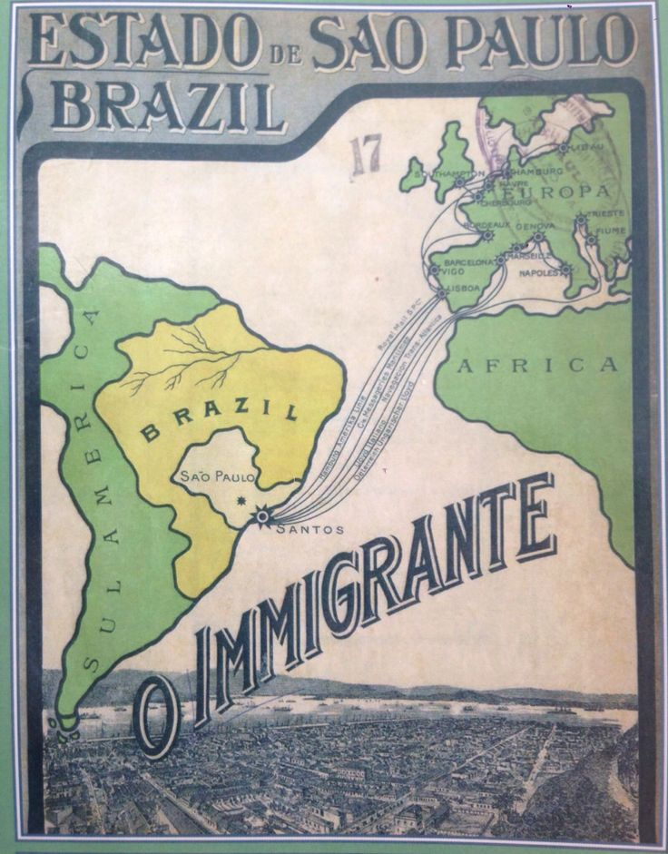 Cover of the magazine 'O Imigrante' (1908), produced by the Secretary of Agriculture of the State of Sao Paulo to attract immigrants. #brazil #immigrants