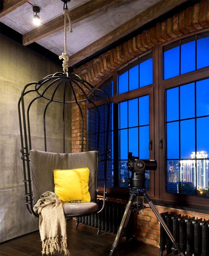 Кирпич в интерьере, лофт, изделия из металла, кресло-качели