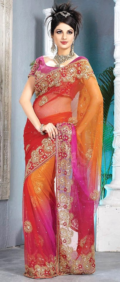 #Red, Magenta and Mustard Net #Saree with #Blouse   $258.58   Shop Here: http://www.utsavfashion.com/store/sarees-large.aspx?icode=sbs354
