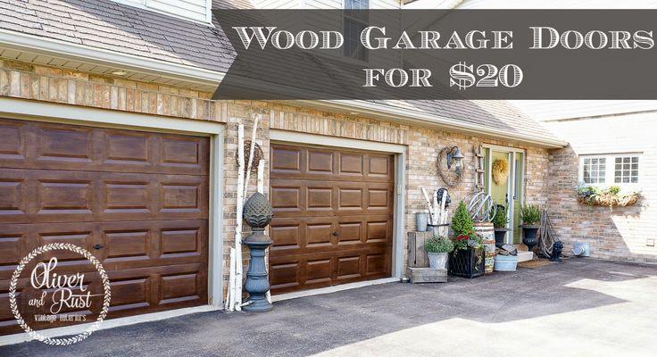 Oliver and Rust || #minwax #gelstain #darkwalnut garage door makeover, wood garage doors