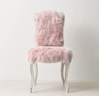 RH TEEN's Sophie Kashmir Faux Fur Desk Chair:A classic Louis XV silhouette is given an extra dose of glamour when upholstered in faux fur. The comfortable frame features a gracefully carved apron and cabriole legs.
