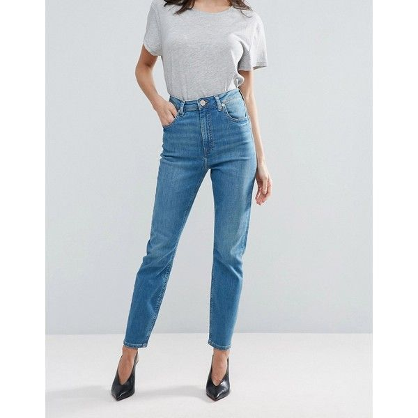 ASOS FARLEIGH High Waist Slim Mom Jeans In Rose Pretty Bright Blue ($36) ❤ liked on Polyvore featuring jeans, blue, tall jeans, slim leg jeans, slim jeans, highwaist jeans and wet look jeans