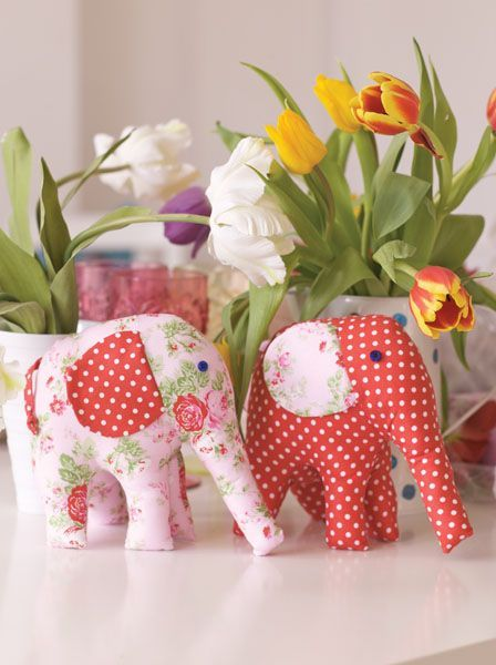Pretty Elephant Toy Sewing Project. Free pattern!
