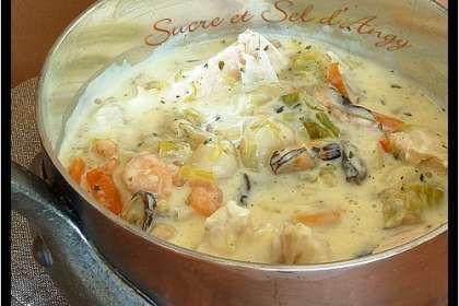 On remplace la traditionnelle viande de notre blanquette par du poisson :-) - Recette Autre : Blanquette de la mer par Angy