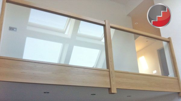Best Wood Spindles With Glass Panel On The Top Landing Google 640 x 480