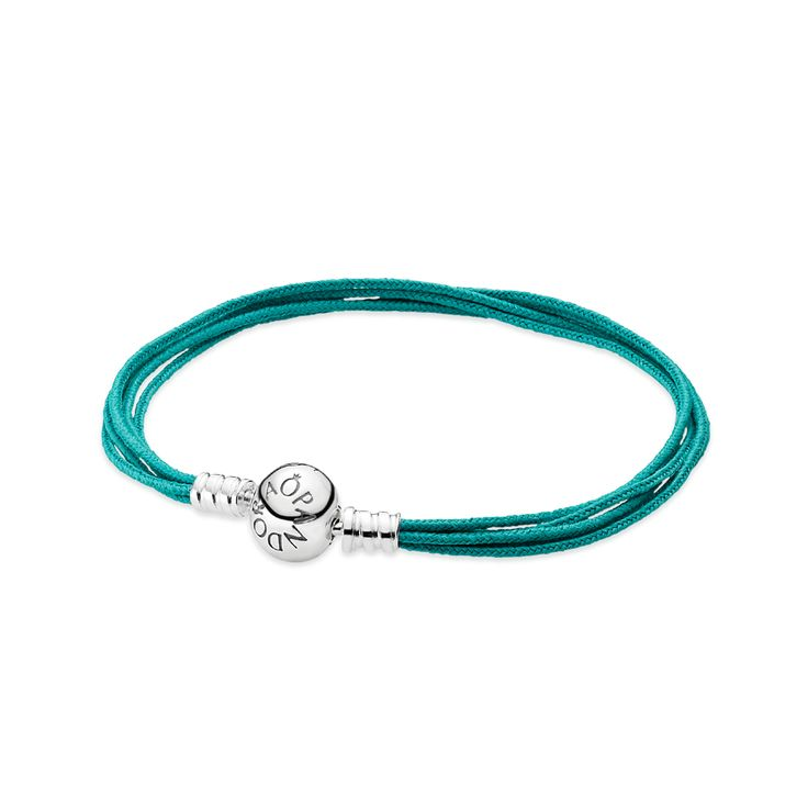 Stay on trend with the new multi-string bracelet in fashionable teal - it's perfect for summertime. $35 #PANDORA #PANDORAbracelet #SummerCollection #SS14
