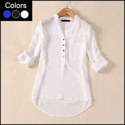Online Shop Más el tamaño de gasa blusa para mujer Camisas Blusas femeninas 2015 de manga larga para damas verano blanco azul Blusas tapas de la camisa LB004 Aliexpress Mobile