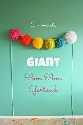 Easy Party Decorations: Giant Pom Pom Garland