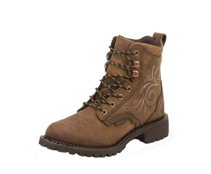 Justin Work Boots Womens Waterproof Fashion Round Toe Aged Bark WKL986 #Justin #WorkSafety