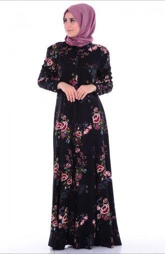 Sefamerve, Gizli Düğmeli Desenli Elbise 6444-01 Siyah