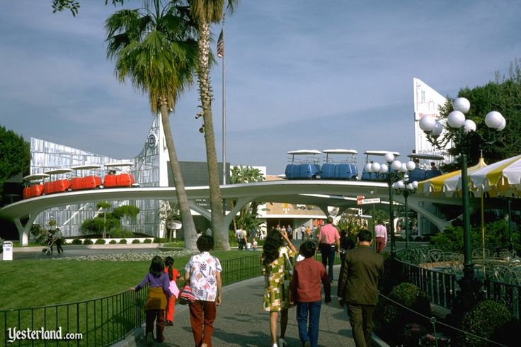 """The PeopleMover, Presented by Goodyear, opened on July 2, 1967 as part of the New Tomorrowland at Disneyland.  Travel throughout Tomorrowland and get an """"inside"""" glimpse of each attraction.  The PeopleMover at Disneyland closed permanently on August 21, 1995."""