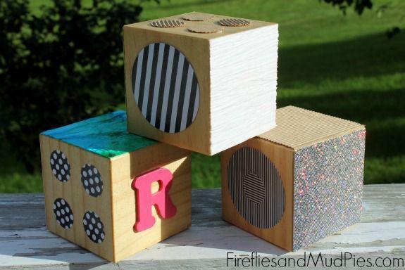 DIY Texture Blocks for sensory play. #firefliesandmudpies