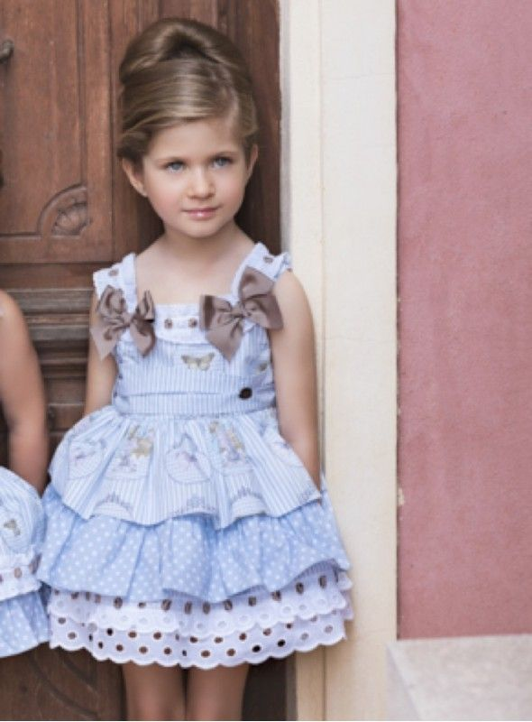 Vestido combinado Azul 'Dolce Petit' AZUL