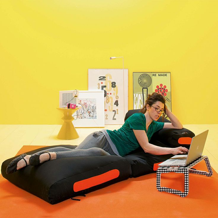 Foldable comfortable transformable into bed pouf
