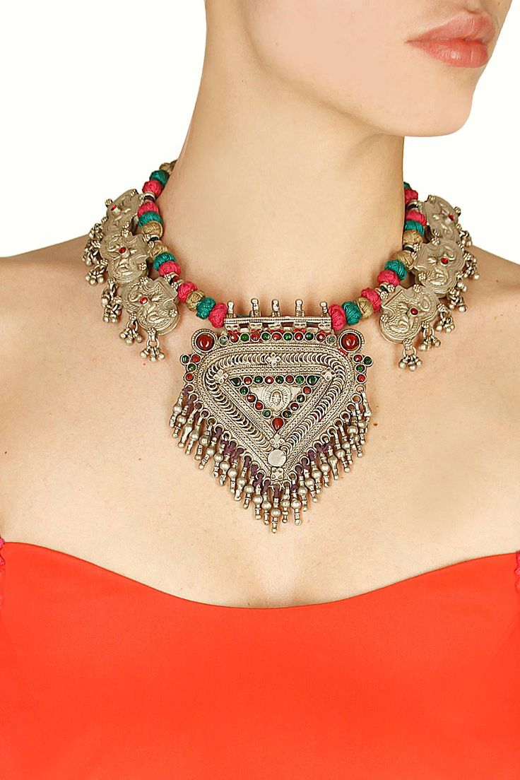 Antique silver finish three chain king necklace by Sangeeta Boochra. Shop now: http://www.perniaspopupshop.com/designers/sangeeta-boochra #necklace #sangeetaboochra #shopnow #perniaspopupshop