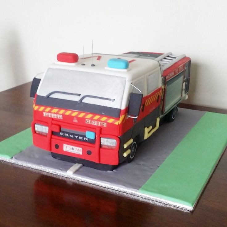 Fire engine cake - perfectly to scale with exact detail to match the Risdonvale Volunteer Fire Stations Truck