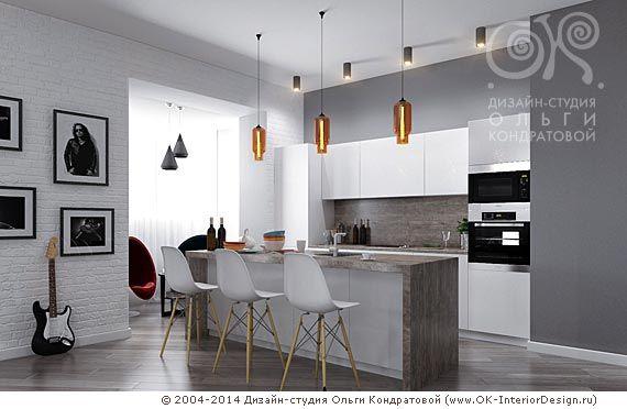 Кухня в квартире-студии для рок-музыканта  http://www.ok-interiordesign.ru/blog/loft-flat-interior-for-rock-musician.html