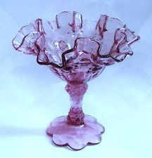 Rare Vintage FENTON Glass Purple Bowl Compote Candy Dish Pedestal Rose Flower