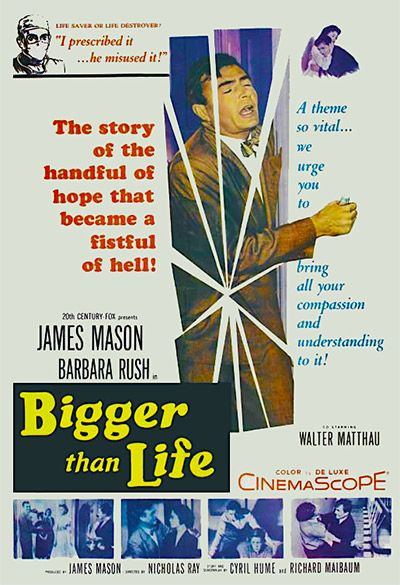 BIGGER THAN LIFE 1956 DVD. The dangers of prescription drug abuse. A well-liked and affable man begins abusing the pills, and experiences wild mood swings that result in periods of mental breakdowns. He begins to display delusions of grandeur and megalomania, and as his delusions increase, he offensively lectures participants of a PTA meeting, admonishes and criticizes his wife, becomes a Nazi-like taskmaster to his son and even tries to re-enact Abraham's sacrifice of son Isaac.