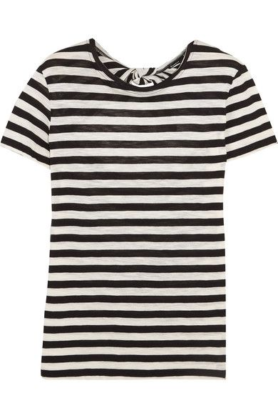Proenza Schouler - Tie-back Striped Cotton-jersey T-shirt - Black -