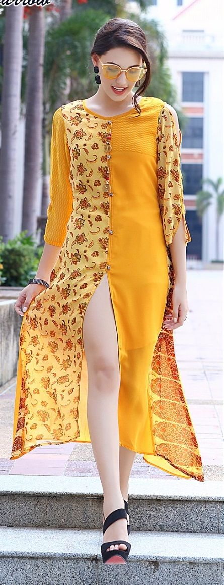 #yellow #colour #printdesign #kurti | blue Kurtis | trends Kurtis | georgette inner heavy santoon | party wear | yellow colour kurti | yellow colouful floral design Kurtis