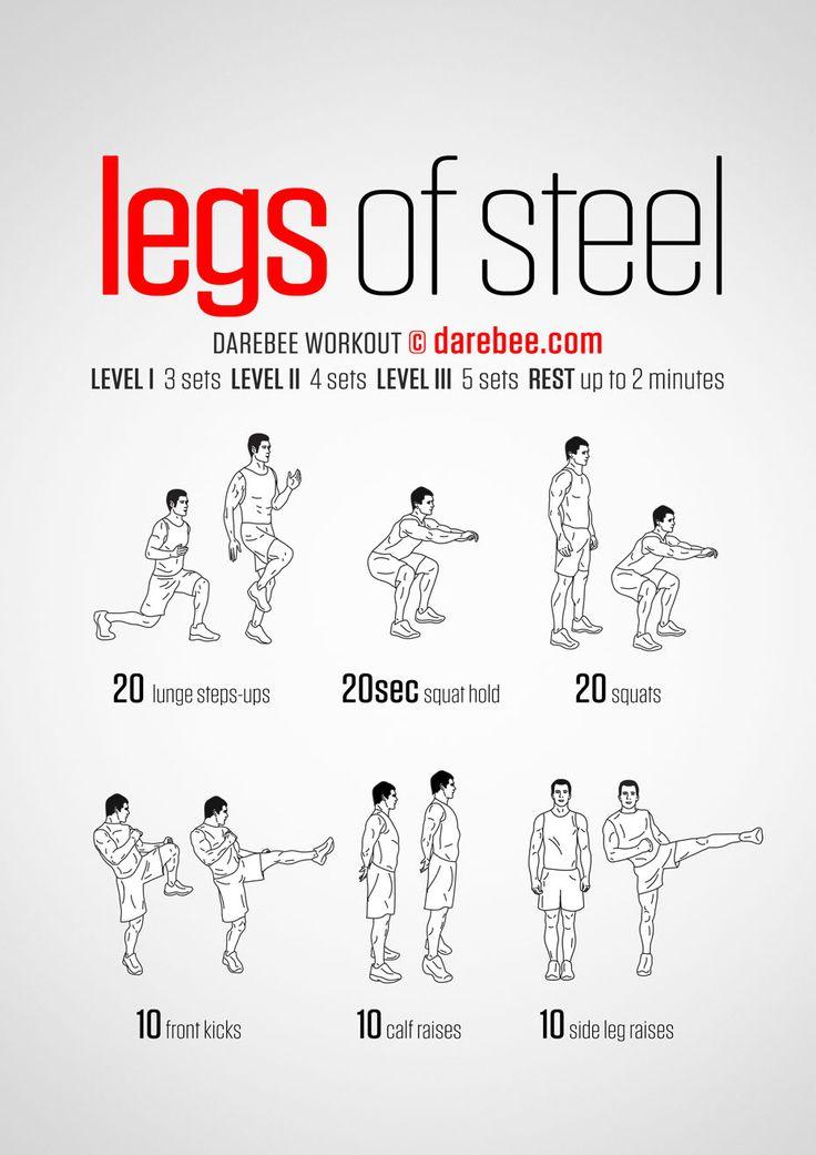 Legs of steel darebee workout exercises pinterest