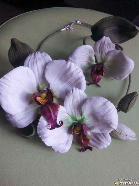Комплект из кожи Белые орхидэи