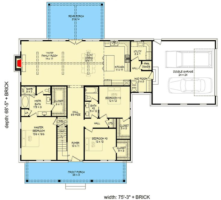 Plan 68583VR: Classic Farmhouse Plan with First-Floor Master and Loft