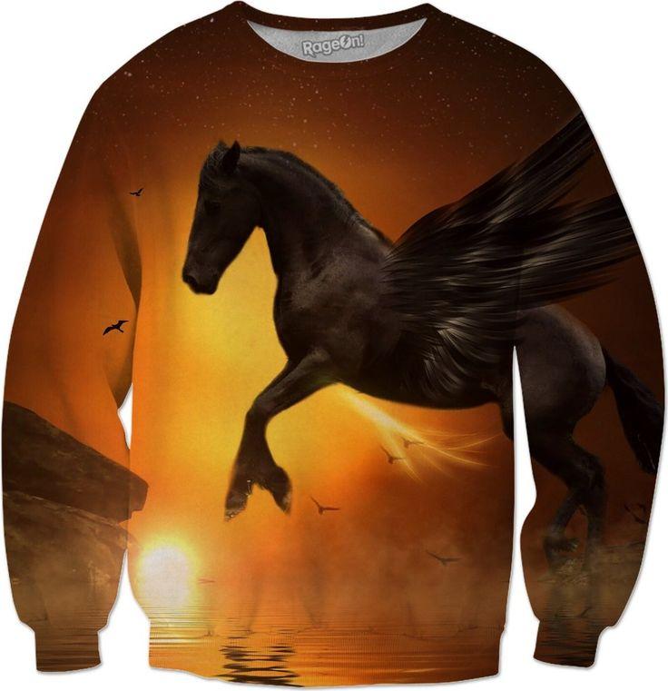 Pegasus and Sunset Sweatshirt  #rageon #erikakaisersot #sweatshirts #pegasus
